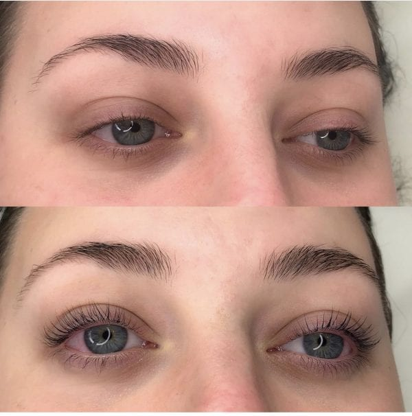 Eyelashes and eyebrows prior to Permalash lash and brow tinting